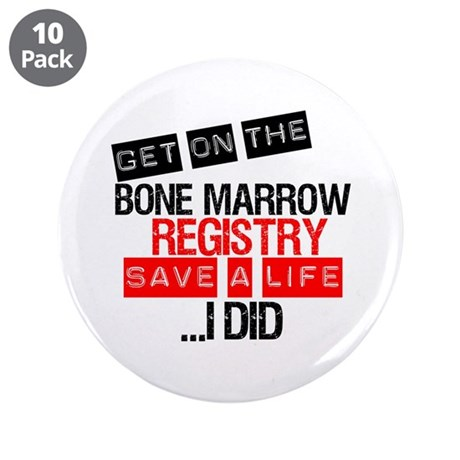 "GetOnThe Bone Marrow Registry 3.5"" Button (10 pack"