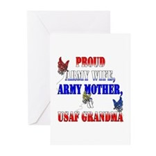 Army Wife Mom USAF Grandma Greeting Cards (Pk of 2