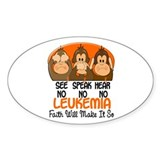 See Speak Hear No Leukemia 1 Oval Sticker (10 pk)