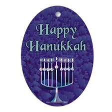 Happy Hanukkah Menorah Keepsake (Oval Ornament)