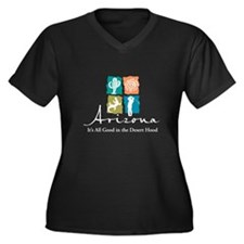 Arizona Women's Plus Size V-Neck Dark T-Shirt