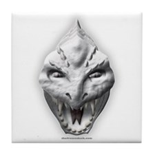 White Dragon Head Tile Coaster