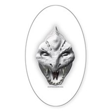 White Dragon Head Oval Decal