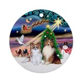 Xmas Magic / Papillon & Sheltie Ornament (Roun