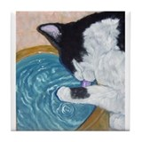 Cat Drinking Tile Coaster