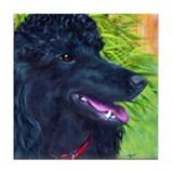 Black Poodle 1 Tile Coaster