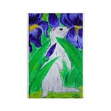 White Ferret Irises Rectangle Magnet