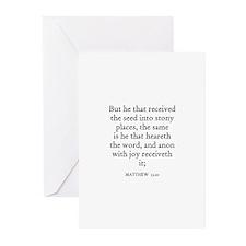MATTHEW  13:20 Greeting Cards (Pk of 10)