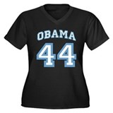 OBAMA 44 Women's Plus Size V-Neck Dark T-Shirt