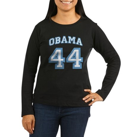 OBAMA 44 Women's Long Sleeve Dark T-Shirt