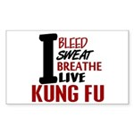 Bleed Sweat Breathe Kung Fu Rectangle Sticker