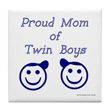 Proud Mom of Twin Boys - smiley Tile Coaster