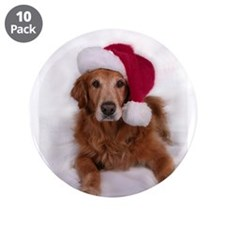 "Chirstmas Golden Retreiver 3.5"" Button (10 pack)"