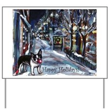 Boston Terrier Xmas Holiday Yard Sign
