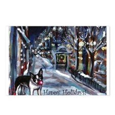 Boston Terrier Xmas Holiday Postcards (Package of