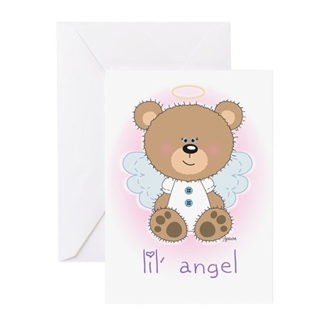 lil' brown bear angel Greeting Cards (Pk of 10