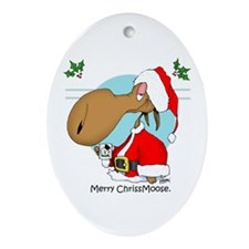Merry Chriss Moose Oval Ornament