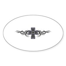 Celtic Tribal Cross Oval Decal