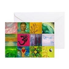Smiling Buddha Patchwork Greeting Card