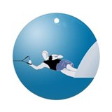 Slalom WaterSkier Ornament (Round)