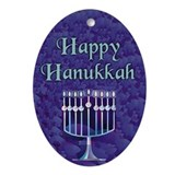 Happy Hanukkah Keepsake (Oval Ornament)