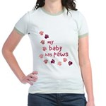 My Baby has Paws Jr. Ringer T-Shirt