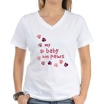My Baby has Paws Women's V-Neck T-Shirt