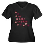 My Baby has Paws Women's Plus Size V-Neck Dark T-S