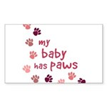My Baby has Paws Rectangle Sticker 50 pk)