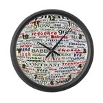 English Brainstorming Poster Large Wall Clock