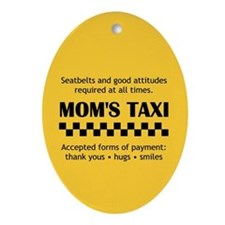 Mom's Taxi Rearview Oval Ornament