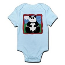 Adorable Panda with Red Border Infant Bodysuit