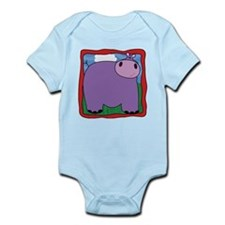 Friendly Hippo with Red Border Infant Bodysuit