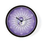 Purple Starburst Yin Yang Wall Clock