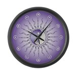 Purple Starburst Yin Yang Large Wall Clock