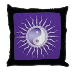 Purple Starburst Yin Yang Throw Pillow