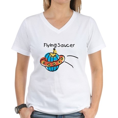 Kid Art Flying Saucer Women's V-Neck T-Shirt