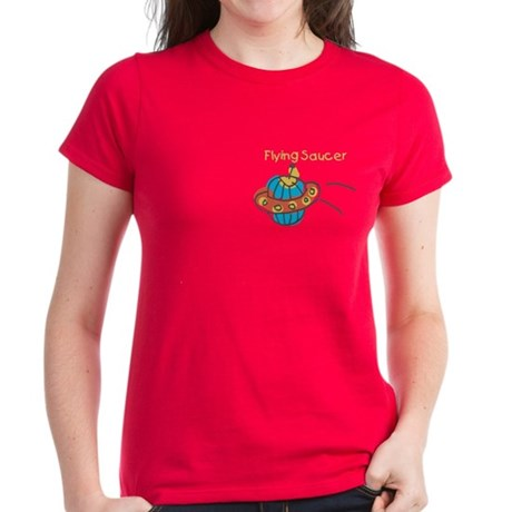 Kid Art Flying Saucer Women's Dark T-Shirt