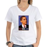 "Barack Obama ""Yes We Can"" Women's V-Neck T-Shirt"