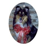 Fireside Tri-Color Sheltie Oval Ornament