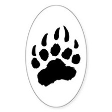 BLACK Bear Paw Oval Decal