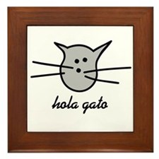 Hola Gato! Gray Kitty Framed Tile