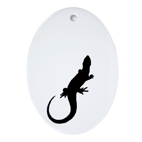 Black Lizard Oval Ornament