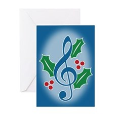 Treble Clef Holly Greeting Card