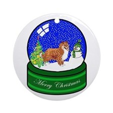 Snow Globe Sheltie Ornament (Round)