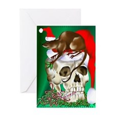 Christmas Skull and Happy Rat Greeting Card