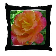 Orange Sunset Rose Throw Pillow