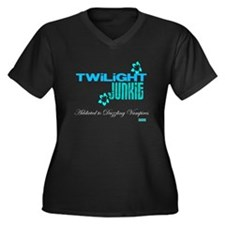 TWILIGHT FAN Women's Plus Size V-Neck Dark T-Shirt