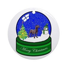 Snow Globe Chocolate Lab Ornament (Round)