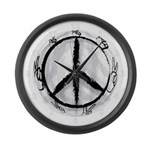 Black and White Peace Sign Wall Clock